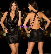 Plus Size Women Black Sexy PVC Leather Straps Halter Wet Look Bodycon Mini Dress