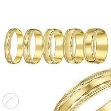 18ct Yellow Gold Ring Bead Diamond Cut Edge Light D Shaped Wedding Band