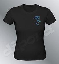 Tee shirt personnalise Dragon SM L femme argent noir gold fluo paillettes tribal