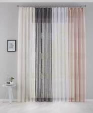 2 x Gardinen Voile »Sanremo« Landhaus-Stil Querstreifen Leinen Häkel Optik