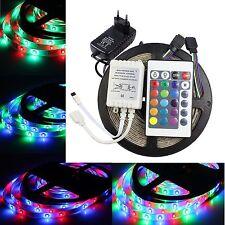 Bande LED RGB 5/10m 3528SMD Strip Ruban kit Adaptateur Alimentatio Télécommande