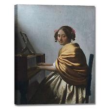 Vermeer donna seduta virginale quadro stampa tela dipinto telaio arredo casa