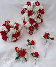 Red / Ivory / Gold Wedding Flowers Bride Bridesmaid Flowergirl / Buttonhole