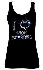 I Love Snowboard Crystal Design CANOTTIERE CANOTTE Tutte le Taglie 8-18