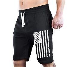 Men's Black and White American Flag Fleece Sweatpant Shorts Running Gym US USA