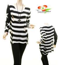 Women Black Striped Knit Gothic Rave Punk Grunge Steampunk Shredded Sweater Top