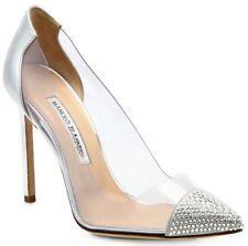 New Manolo Blahnik PACHA Crystal Toe PVC  BB Shoes 39 39.5 40 41.5 Wedding