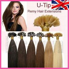 7A Pre Bonded U Nail Tip Keratin Human Brazilian 100% Hair Extensions UK 1G
