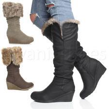 Donna Inverno risvolto pelliccia zip Mid Zeppa Plateau Stivali al polpaccio taglia
