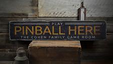 Play Pinball Here, Custom Gamer Man - Rustic Distressed Wood Sign ENS1001414