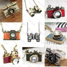 HIDE&SEEK retro NECKLACE/EARRINGS/RING brass/gold/silver BINOCULARS/CAMERA chain
