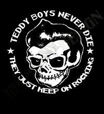 Teddy Boy Homenaje Camiseta nunca mueren Rock And Roll Cafe Racer los 50 Años 50