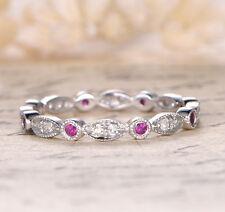 Stackable Ruby Wedding Band Diamond Full Eternity Ring 14k White Gold Art Deco