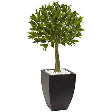 Bay Leaf Artificial Topiary Tree w/ Black Pot UV Resistant (Indoor/Outdoor)