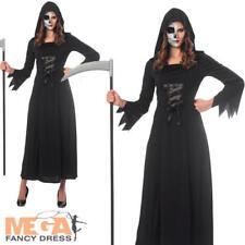 Grim Reaper Ladies Fancy Dress Horror Scream Adults Womens Halloween Costume