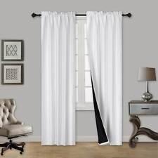 BLACK BACKING ULTIMATE 100% BLACKOUT WINDOW CURTAIN 2 PANELS WHITE (TOM)