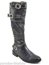 Para Mujer Damas Piel Botas Hasta La Rodilla Hebilla cremallera Riding Invierno Zapatos De Cuero Tamaño