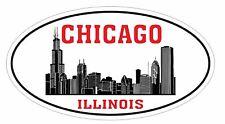 Chicago Illinois Oval Bumper Sticker or Helmet Sticker D3312 Euro Oval