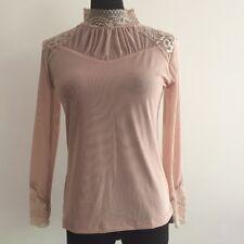 Stylish Women High Neck Long Sleeve Lace Chiffon Hollow T-Shirt Tops Blouse