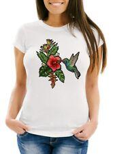 Damen T-Shirt Tropical Kolibri Vogel Palmblätter Sommer Stick-Patch-Optik