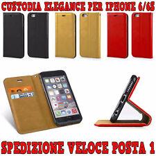 "CUSTODIA COVER SLIM IN ECOPELLE A LIBRO ""ELEGANCE"" PORTAFOGLIO PER IPHONE 6/6S"