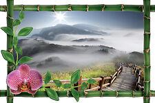 Sticker mural trompe l'oeil déco bambou Chemin montagne réf 1040