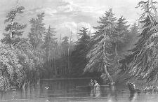 BARHYDT LAKE Ballston Saratoga Springs New York ~ Old 1838 Art Print Engraving