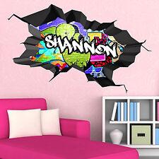 Multi couleur personnalisé 3D graffiti nom cracked wall art autocollant décalque WSD181
