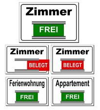 Zimmer-Ferienwohnung-Appartement-Frei/Belegt-3 Größen-Alu.-Türschild-Schild