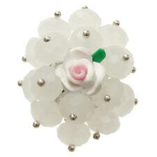Bague cristal facettes BLANCHE fleur rose fimo réglable Taille 56 58 60 62 64 66