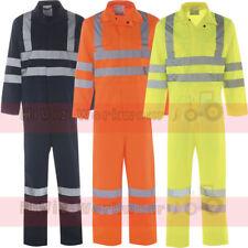 HI Viz sicurezza CON TUTA TUTE Boilersuit Uomo EN471 Nastro Riflettente Workwear