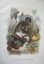 CHROMOLITHOGRAPHIE 19ème CONGO AU MARCHE DE SOMA