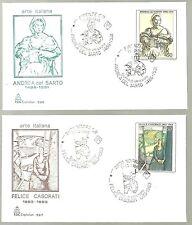 ITALIA 2 BUSTE CAPITOLIUM 1986 PITTORI FELICE CASORATI ANDREA DEL SARTO FDC