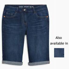 Ladies Next Denim Knee Length Shorts Blue Sizes 6 - 20