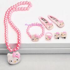 Girls Hello Kitty Jewelry Set Necklace Bracelet Ring Earrings Hair Clips