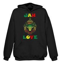 JAH LOVE HOODIE - Rasta Reggae Bob Marley Rastafari - Sizes S to 2XL