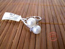 Anello DONNA con Doppia Perla Perle Bianche e Strass Fede Elegante Stile Moderno