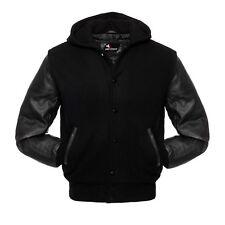 Varsity Hoodie Black Wool Black Real Leather Arms Letterman College Jacket