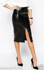 New 100% Genuine Lambskin Black Leather Women Pencil Hollywood Style Skirt 62