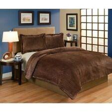 Twin Full Queen Bed Brown Zebra Animal Plush Velvet 3 pc Comforter Set Bedding