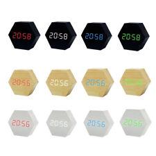 Digital Alarm Clock Display Snooze LED Temperature Hexagon Voice Control USB