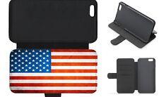 American USA Bandiera Grunge FLIP Wallet CUSTODIA COVER TELEFONO con porta carte di credito Slot