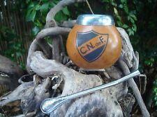 Uruguay, Mate Club Nacional Logo + names,initial.. Yerba Gourd + Straw Soccer