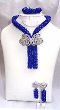 Prestigeapplause De Cristal Azul Real Conjunto De Joyería Novia Fiesta granos collar