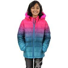 Kids Girls Jackets Cerise Faux Fur Hooded Two Tone Christmas Festive Gift Coats