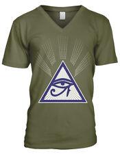 All Seeing Eye Free Mason Egyptian Prophecy Horus Symbol Of Men's V-Neck T-Shirt