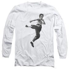 Bruce Lee Flying Kick Mens Long Sleeve Shirt
