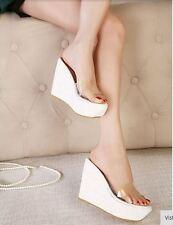Sandali ciabatte donna sabot bianco trasparente zeppa 12 cm mare comodi 9292