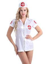 Sexy Women's Wet Look Leather Nurse Fancy Costume Cosplay Uniform Lingerie Set