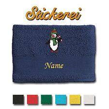 Serviette De Toilette/douche serviette Coton brodé Broderie Pingouin + Nom